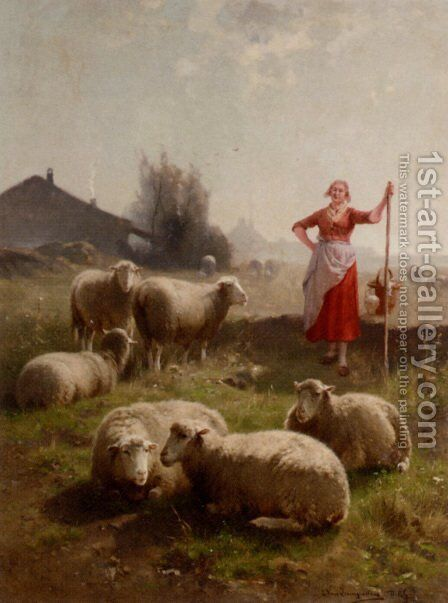 A Shepherdess And Her Flock by Cornelis van Leemputten - Reproduction Oil Painting