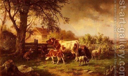 Farmyard Scene by Edmund Mahlknecht - Reproduction Oil Painting