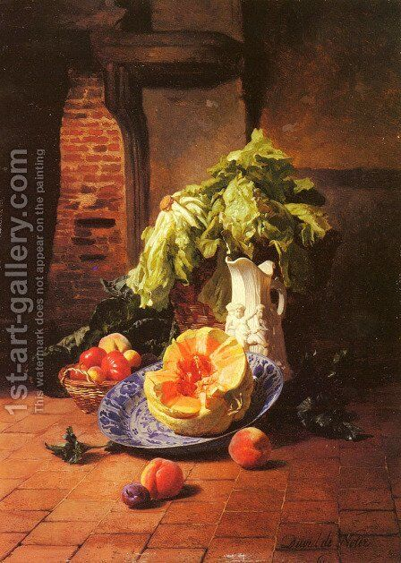 A Still Life With A White Porcelain Pitcher, Fruit And Vegetables by David Emil Joseph de Noter - Reproduction Oil Painting