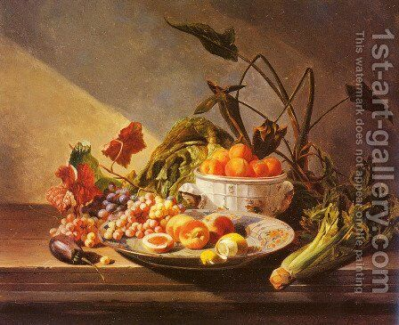 A Still Life With Fruit And Vegetables On A Table by David Emil Joseph de Noter - Reproduction Oil Painting
