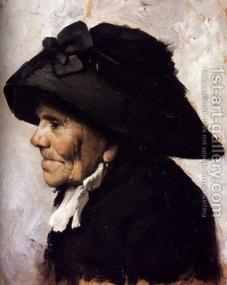 Study Of The Head Of An Old Woman by Henri-Jules-Jean Geoffroy (Geo) - Reproduction Oil Painting