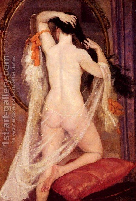 Nu Au Miroir (Nude before a Mirror) by Henry Caro-Delvaille - Reproduction Oil Painting