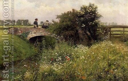 A Meeting on the Bridge by Emile Claus - Reproduction Oil Painting