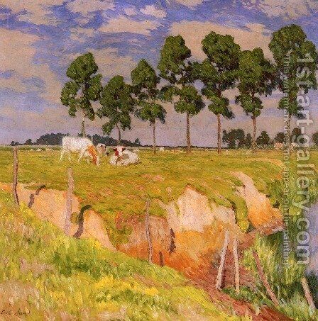 La Berge Rangee (Juillet) (The Receding Bank, July) by Emile Claus - Reproduction Oil Painting