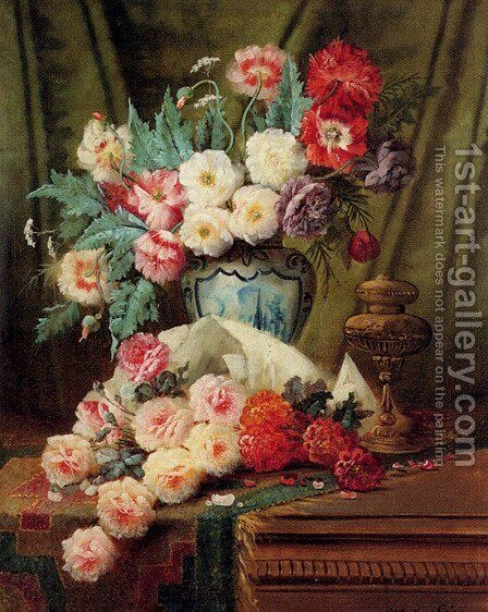 Still Life Of Roses And Other Flowers On A Draped Table by Modeste Carlier - Reproduction Oil Painting