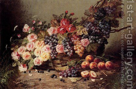 Still Life Of Roses, Peaches And Grapes In A Basket by Modeste Carlier - Reproduction Oil Painting