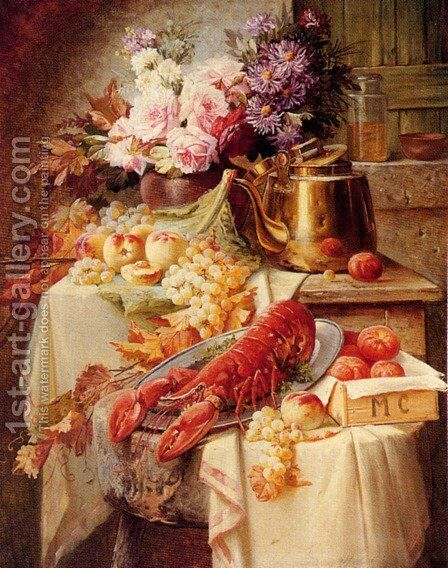 Still Life With A Lobster And Assorted Fruit And Flowers by Modeste Carlier - Reproduction Oil Painting