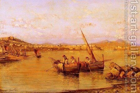 The Bay Of Naples by Giuseppe Carelli - Reproduction Oil Painting