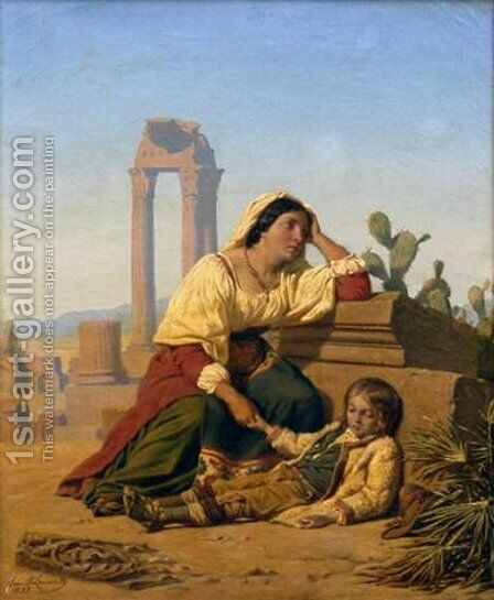Grief by Charles Emile Hippolyte Lecomte-Vernet - Reproduction Oil Painting