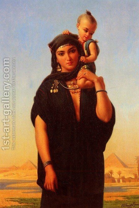 Femme Fellah Portant Son Enfant (Egypte) (Fellah Woman Carrying Her Child (Egypt)) by Charles Emile Hippolyte Lecomte-Vernet - Reproduction Oil Painting