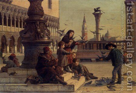 Feeding The Pigeons by Antonio Paoletti - Reproduction Oil Painting