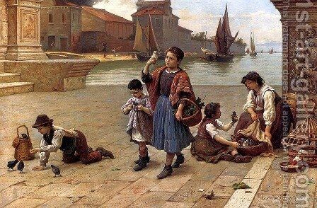 The Bird Seller by Antonio Paoletti - Reproduction Oil Painting