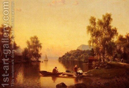 Sketching on the Lake by Ehrnfried Wahlquist - Reproduction Oil Painting