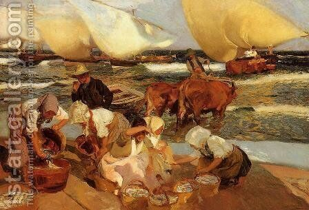 Beach at Valencia (or Afternoon Sun) by Joaquin Sorolla y Bastida - Reproduction Oil Painting