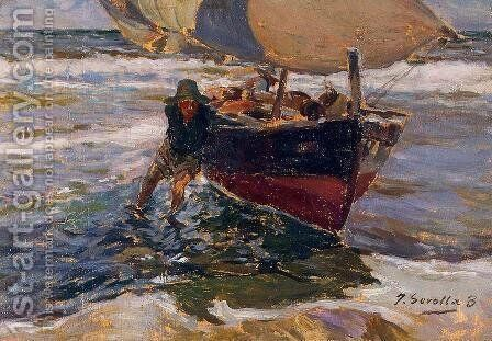 Beaching the Boat (study) by Joaquin Sorolla y Bastida - Reproduction Oil Painting