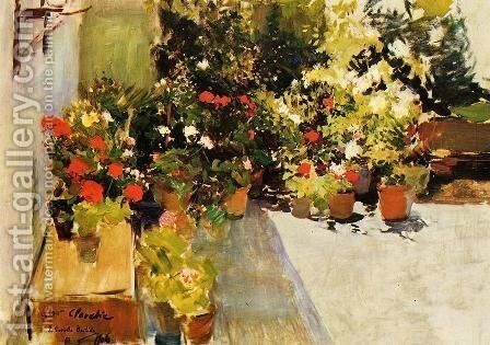 A Rooftop with Flowers by Joaquin Sorolla y Bastida - Reproduction Oil Painting