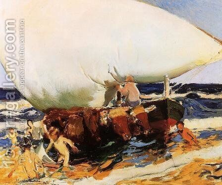 On the Beach, Valencia by Joaquin Sorolla y Bastida - Reproduction Oil Painting