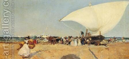 Arrival of the Boats by Joaquin Sorolla y Bastida - Reproduction Oil Painting