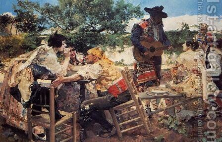 Valencian Scene by Joaquin Sorolla y Bastida - Reproduction Oil Painting