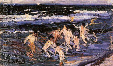 Ninos en el Mar by Joaquin Sorolla y Bastida - Reproduction Oil Painting