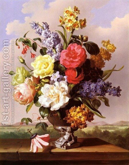 Flowers In An Urn On A Ledge by Anton Hartinger - Reproduction Oil Painting