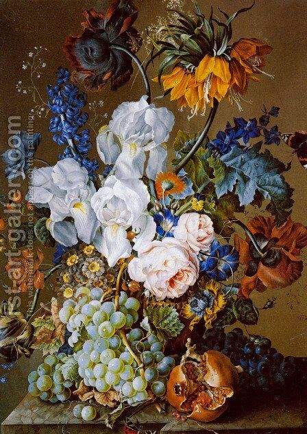 An Elaborate Floral Still Life with a Pomegranate, Grapes and Butterflies by Anton Hartinger - Reproduction Oil Painting
