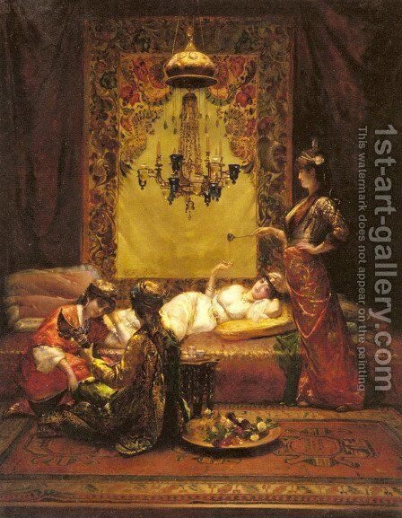 In the Harem by Edouard Frédéric Wilhelm Richter - Reproduction Oil Painting