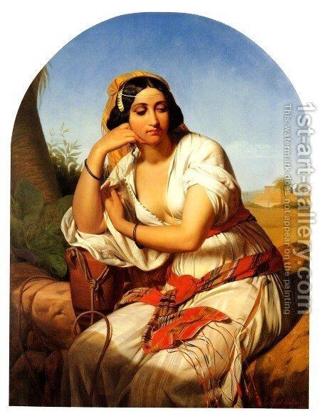 A Young Oriental Woman by Godfried Guffens - Reproduction Oil Painting