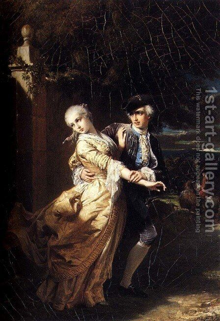 Lovelace's Kidnaping Of Clarissa Harlowe by Edouard Louis Dubufe - Reproduction Oil Painting