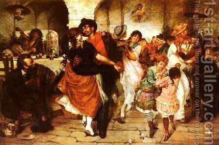 Ballo Mazurka (Dancing the Mazurka) by Egisto Lancerotto - Reproduction Oil Painting
