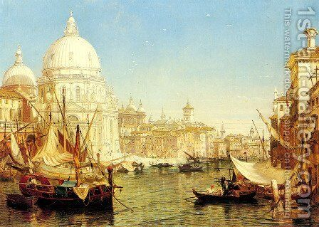 A Venetian Canal Scene with the Santa Maria della Salute by Henry Courtney Selous - Reproduction Oil Painting