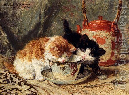 Tea Time by Henriette Ronner-Knip - Reproduction Oil Painting