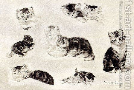A Study Of Cats Drinking, Sleeping And Playing by Henriette Ronner-Knip - Reproduction Oil Painting