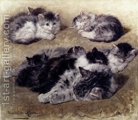 A Study Of Cats by Henriette Ronner-Knip - Reproduction Oil Painting
