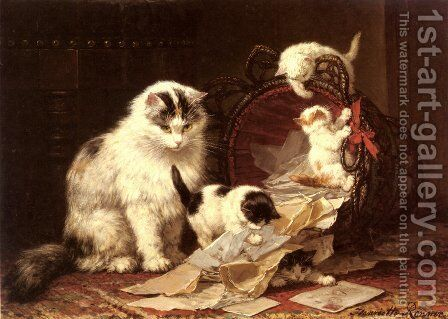 De Snippermand (The Waste Paper Basket) by Henriette Ronner-Knip - Reproduction Oil Painting