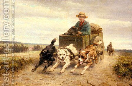 The Dog Cart by Henriette Ronner-Knip - Reproduction Oil Painting