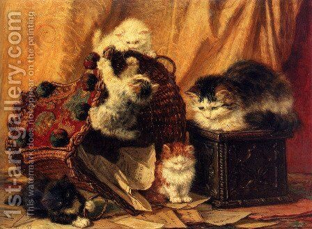 The Turned Over Waste-paper Basket by Henriette Ronner-Knip - Reproduction Oil Painting