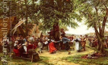 The Village Festival by Jean Charles Meissonier - Reproduction Oil Painting