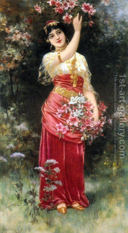 An Oriental flower Girl by Eisman Semenowsky - Reproduction Oil Painting