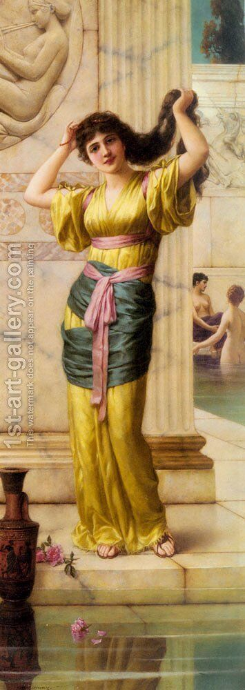 A Roman Beauty in the Baths by Eisman Semenowsky - Reproduction Oil Painting