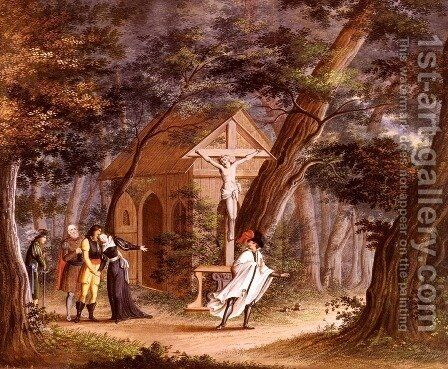 Ritter Seine Geliebte Verlassend (Knight Taking Leave Of A Loved One) by Carl Philipp Fohr - Reproduction Oil Painting