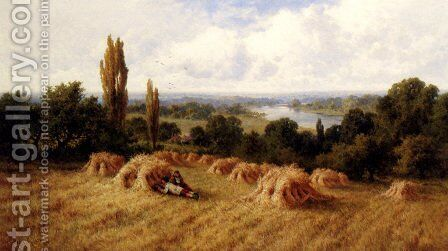 A Corn Field, Chertsey-On-Thames, Surrey by Henry Hillier Parker - Reproduction Oil Painting