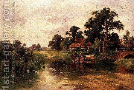 Across The Ford by Henry Hillier Parker - Reproduction Oil Painting