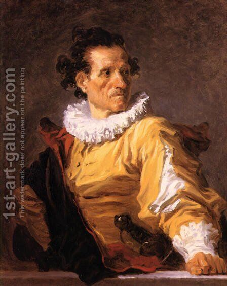 Portrait of a Man called 'The Warrior' by Jean-Honore Fragonard - Reproduction Oil Painting