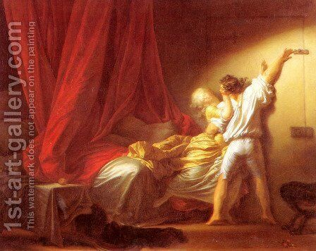 Le Verrou (The Bolt) by Jean-Honore Fragonard - Reproduction Oil Painting