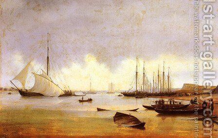 Fishing Vessels off a Jetty, believed to be Costroma (Russia) by Anton Ivanovich Ivanov - Reproduction Oil Painting