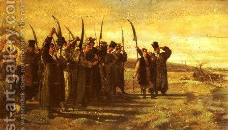 Polish Insurrectionists of the 1863 Rebellion by Stanislaus von Chlebowski - Reproduction Oil Painting
