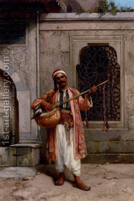A Musician Playing Before A Mosque In Constantinople by Stanislaus von Chlebowski - Reproduction Oil Painting