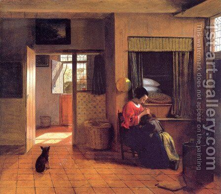 A Mother and Child with Its Head in Her Lap by Pieter De Hooch - Reproduction Oil Painting