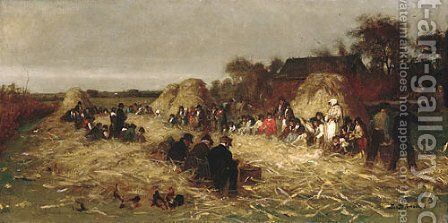 Corn Husking at Nantucket by Eastman Johnson - Reproduction Oil Painting